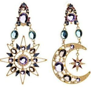 🎀Beautiful Rhinestones Moon and Star Drop Earings